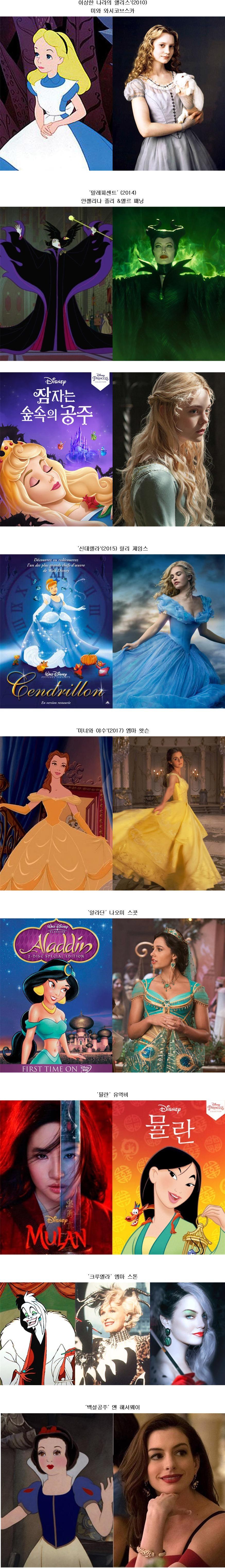 디즈니 실사 영화 속 여성 캐릭터들의 싱크로율..jpg
